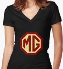 Classic Cars Logo - MG Women's Fitted V-Neck T-Shirt