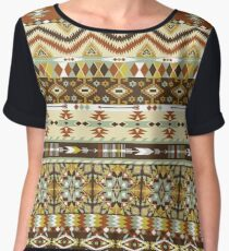 Navajo colorful  tribal pattern with geometric elements Women's Chiffon Top