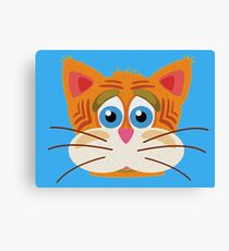 Cat Face Cartoon Vector Graphic Canvas Print