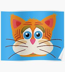 Cat Face Cartoon Vector Graphic Poster