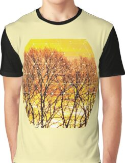 Nature and Geometry - Trees and Sunset Graphic T-Shirt