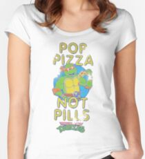 Pop Pizza Not Pills Women's Fitted Scoop T-Shirt