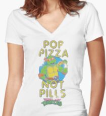 Pop Pizza Not Pills Women's Fitted V-Neck T-Shirt