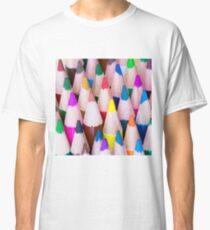 Close up macro shot of colouring pencils Classic T-Shirt