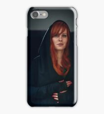 Dramatic portrait of beautiful red hair woman iPhone Case/Skin