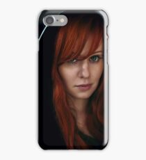Dramatic portrait of beautiful red hair woman in black iPhone Case/Skin