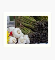 asparagus and onions Art Print