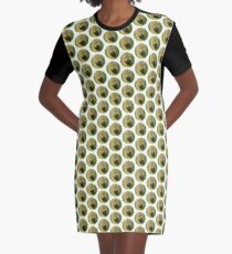 Bright Caterpillar Against Green Graphic T-Shirt Dress