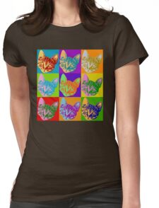 Cat Pop Art  Inspired Graphic Cats Kitty Bright Color Design Womens Fitted T-Shirt