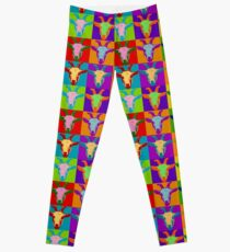 Goat Pop Art Graphic BIlly Goat Bright Color Restro Leggings
