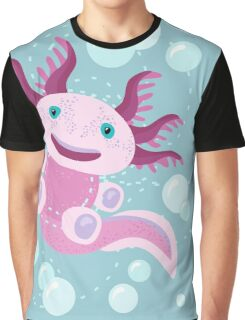 Cute Axolotl and The Bubbles Graphic T-Shirt