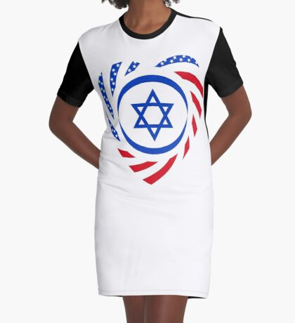 Israeli American Multinational Patriot Flag (Heart) Graphic T-Shirt Dress