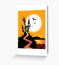 Haunted Castle. Bats over spooky Castle. Vector Illustration. Greeting Card