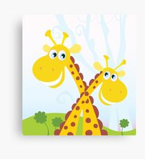 Two giraffes. Vector Illustration of funny african animals. Canvas Print