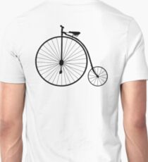 Penny Farthing, Bicycle, Cycle, Cycling, Racing Bike, Road Bike, Racing bicycle, Black on White Unisex T-Shirt