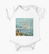 Keep your eyes & focus on what matters most.typography.cool text,beautiful,painted ice landscape,modern,contemporary art One Piece - Short Sleeve