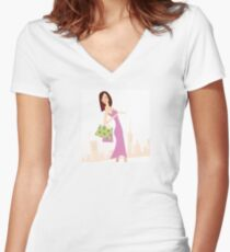 Spring shopping. Vector Illustration of woman with shopping bags. Women's Fitted V-Neck T-Shirt