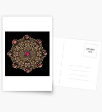 Brown Gemstones Mandala Postcards