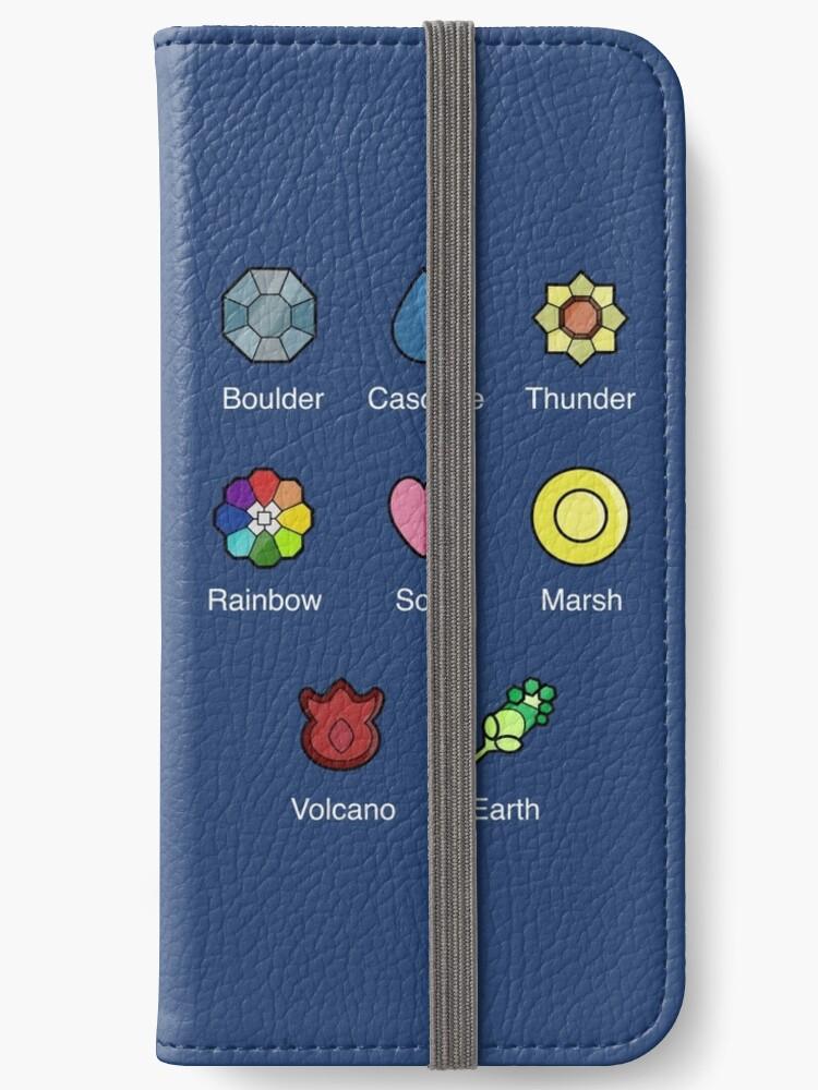 best sneakers e1e83 4083e 'Pokemon - Indigo League: Kanto Region Badges ' iPhone Wallet by AngelGhosty