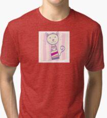 Pink kitten. Stripped small cute baby kitten Tri-blend T-Shirt