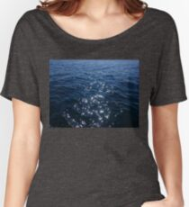 Sparkly Deep Blue Sea Waves Women's Relaxed Fit T-Shirt