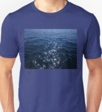 Sparkly Deep Blue Sea Waves T-Shirt