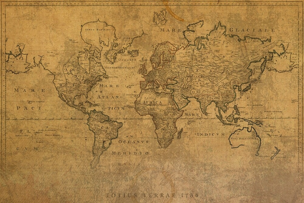 Ancient Map Of The World Latin 1784 By Map Lover Redbubble