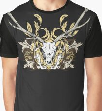 Deer Skull and Engraved Floral Detail Graphic T-Shirt