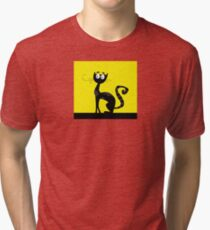 Black cat. Black silhouette of cat isolated on color background Tri-blend T-Shirt
