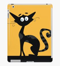 Black cat. Black silhouette of cat isolated on color background iPad Case/Skin