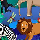 African animals scene by kathrynkonkle