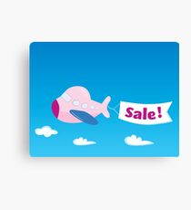 Flight sale! Flying Airplane with promotional banner Canvas Print
