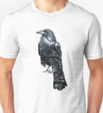 Double Exposure Crow & Tree Branches Unisex T-Shirt