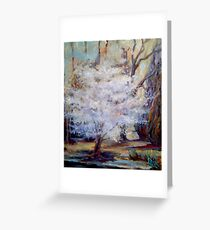 FUMC Cherry Trees, oil on canvas Greeting Card