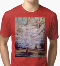 FUMC Cherry Trees, oil on canvas Tri-blend T-Shirt