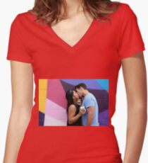 Kissing Women's Fitted V-Neck T-Shirt