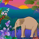 African elephant scene by kathrynkonkle