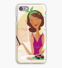 Exotic food Sushi. Girl with sushi in attractive japanese restaurant iPhone Case/Skin