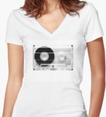 cassette  illustration - black and white tape  Women's Fitted V-Neck T-Shirt