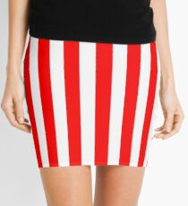Red Vertically-Striped Mini Skirt