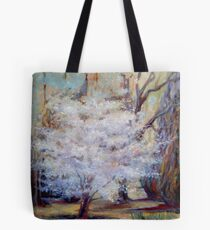 FUMC Cherry Trees, oil on canvas Tote Bag