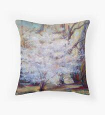 FUMC Cherry Trees, oil on canvas Throw Pillow