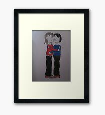 boy and girl kissing cartoon Framed Print