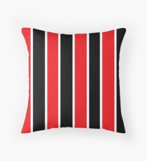 Red White and Black-Striped Throw Pillow