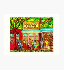 COSMOS RESTAURANT MONTREAL GREASY SPOON CITY SCEN PAINTING Art Print