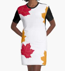 Fall Leaves Graphic T-Shirt Dress
