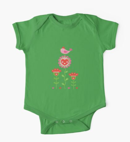 Happy - flower birds and hearts Kids Clothes