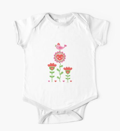 Happy - flower birds and hearts 2 Kids Clothes