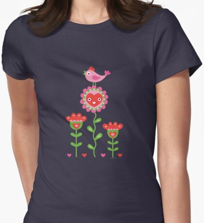Happy - flower birds and hearts 2 T-Shirt