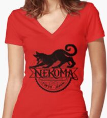 Haikyuu Team Types: Moulin Rogue Nekoma RED Women's Fitted V-Neck T-Shirt
